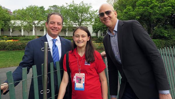 Courtney with White House Chief of Staff Reince Priebus (left) and political reporter John Heilmann