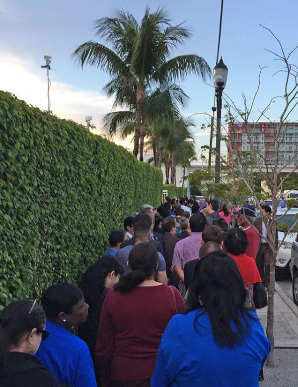 A crowd waits to see Hillary Clinton in Miami, Florida, on Super Tuesday.