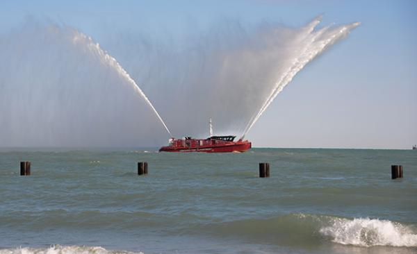This Chicago Fire Department boat fired its water cannons as Polar Plungers braved Lake Michigan's near-freezing waters to raise money for Special Olympics Chicago.
