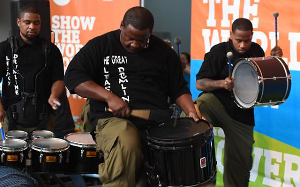 Drummers entertain attendees at the UNICEF Kid Power event in Chicago.