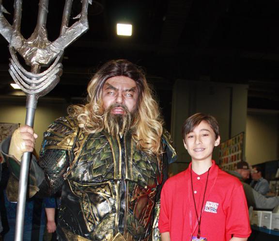 Daniel and John dressed as DC's Aquaman