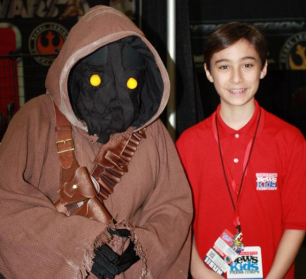 Daniel and an Ewok from Disney's Star Wars