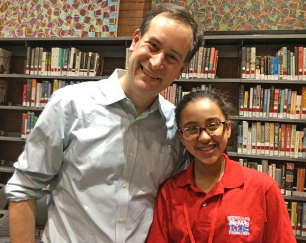 Sunaya with author David Levithan, a co-founder of the NYC Teen Author Festival