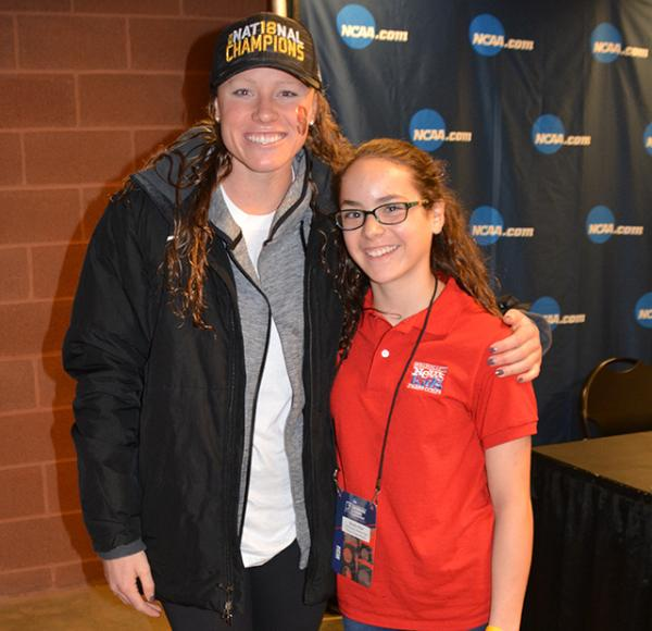 Sadie with Stanford's Ella Eastin, the NCAA Swimmer of the Year.