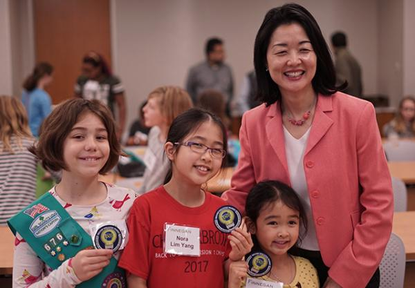 Esther Lim with girl scouts