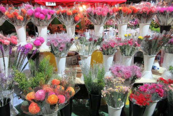 A flower stall in Hong Kong. During Lunar New Year celebrations, many people fill their homes with fresh flowers.