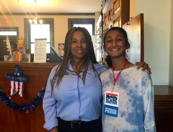 Hana with Cindy Heyward, postmaster of the Franklin Post Office in Philadelphia, Pennsylvania. Photo courtesy of the author.