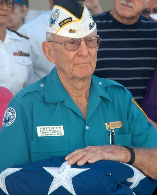 Survivor Everett Hyland is honored at a ceremony. Photo courtesy of the National Park Service