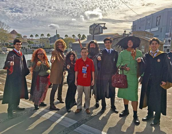 Max and Harry Potter fans at the Harry Potter Extravaganza at Universal Studios Resort Orlando