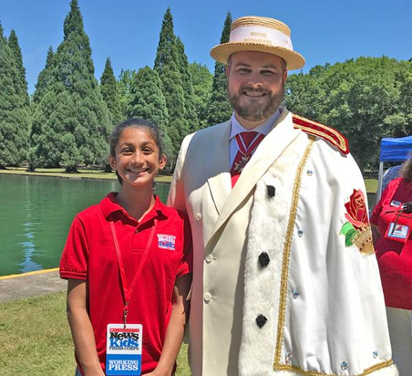 Hana with Adam Snook, the Prime Minister of the Royal Rosarians
