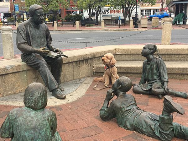 Molly visiting the Kunta Kinte-Alex Haley Memorial at Annapolis