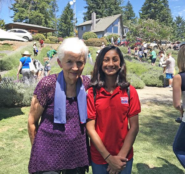Hana with Nancy Miller, co-founder of the Helvetia Lavender farm