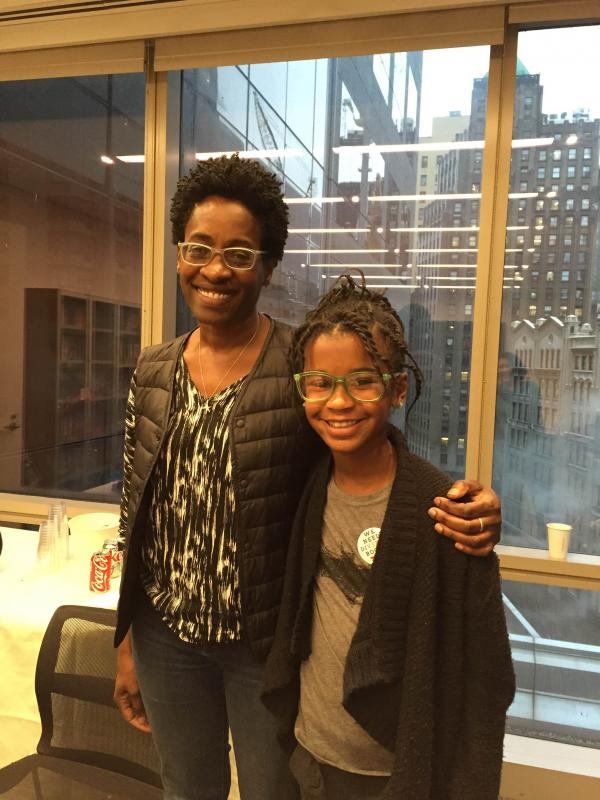 """Marley with Jacqueline Woodson, the award-winning author of Brown Girl Dreaming and other titles, at a recent """"We Need Diverse Books"""" event in New York City"""
