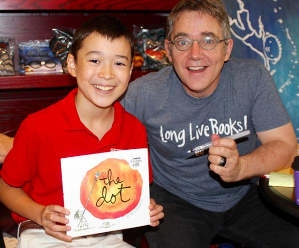 Max interviews Peter H. Reynolds at The Blue Bunny Bookstore in Dedham, MA