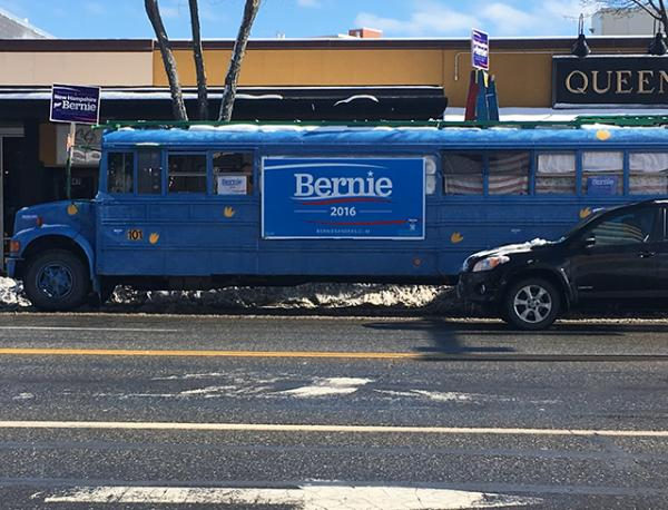 A Bernie Sanders bus in Manchester, NH