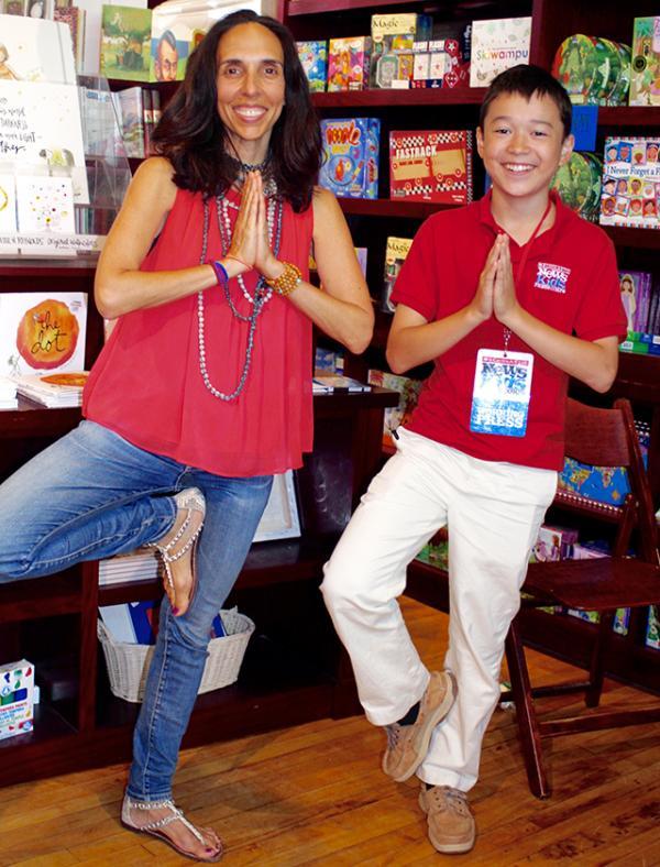 Susan Verde and Max strike a yoga pose