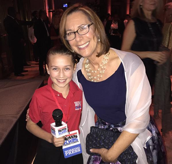 Amelia with Scholastic author Pam Munoz Ryan at the National Book Awards in New York City
