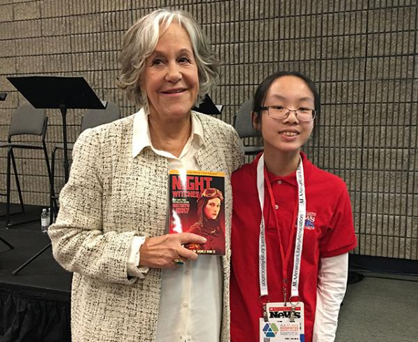 Victoria with Kathryn Lasky, the author of Night Witches (Scholastic), a World War II novel based on real events.