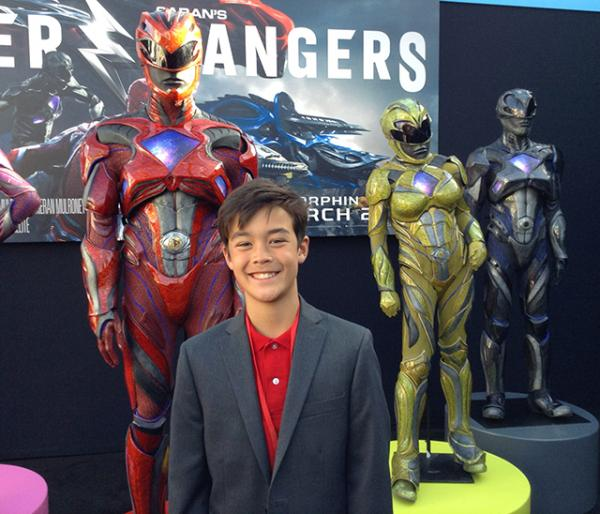 Scholastic News Kids Press Corps Reporter Ben Jorgensen at the premiere of Saban's Power Rangers.