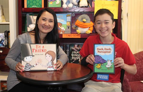 Salina Yoon and Max at The Blue Bunny Bookstore in Dedham, Massachusetts.