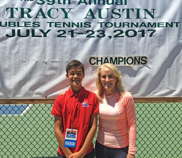 Kid Reporter Ben Jorgensen with Tracy Austin at the Jack Kramer Club in Palos Verdes, CA, home of the Tracy Austin Doubles Tournament.