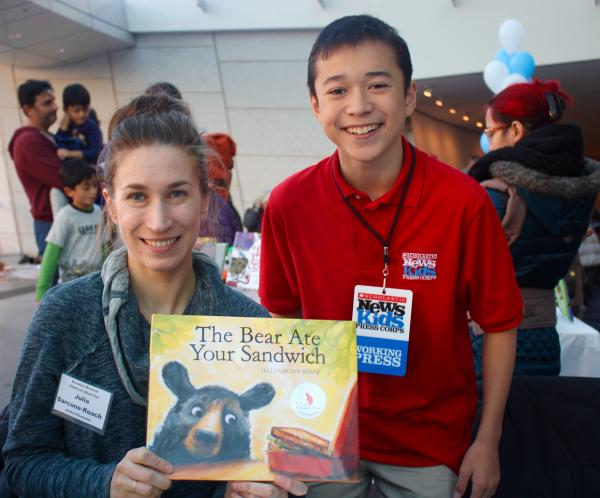 Max and Julia Sarcone-Roach at the Brooklyn Children's Book Fair