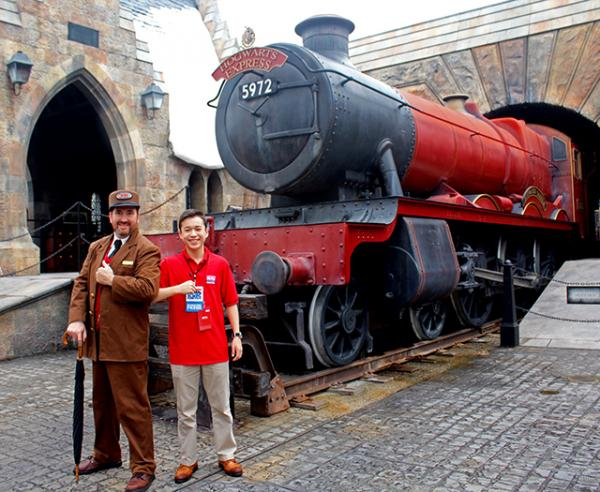 Max and the conductor of the Hogwarts Express