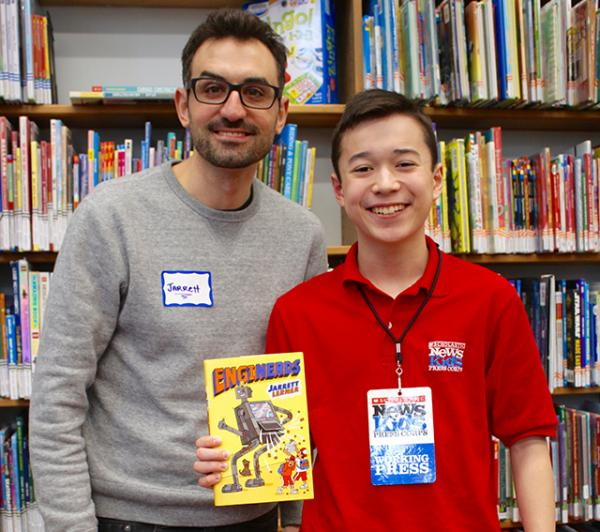 Max and Jarrett Lerner at the Public Library in Dedham, Massachusetts