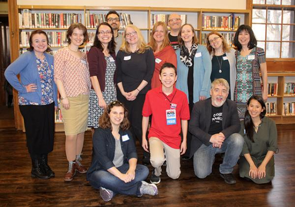 children's authors Jarrett Lerner, Rob Vlock, Erin Petti, Ammi-Joan Paquette, Anna Staniszewski, Lee Gjertsen Malone, Monica Tesler, MarcyKate Connolly, Tui Sutherland, Victoria Coe, Katie Slivenski, Max (Scholastic Kid Reporter), Katie Slivensky, Peter H. Reynolds, and Susan Tan