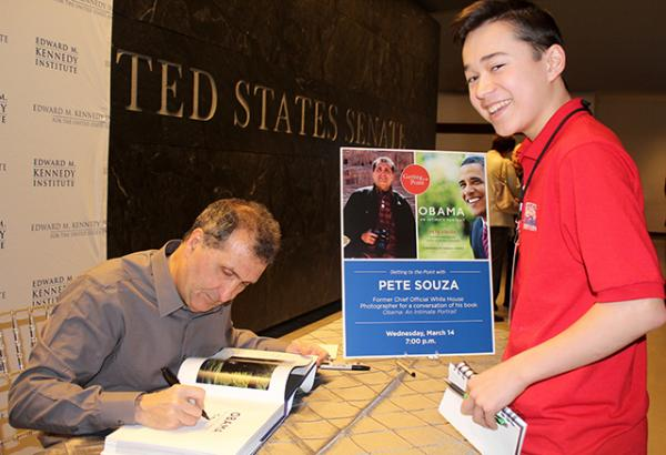 Pete Souza signs book for Max at the Edward M. Kennedy Institute in Boston, Massachusetts
