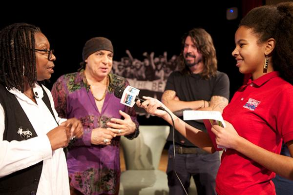 Whoopi Goldberg, Stevie Van Zandt, founder of the Rock and Roll Forever Foundation, Dave Growl, and Adedayo