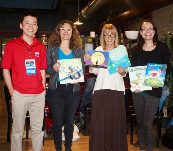 Max with picture book authors (right to left) Allison Goldberg, Carol Gordon Ekster and Anna Staniszewski at The Blue Bunny Bookstore in Dedham, Massachusetts