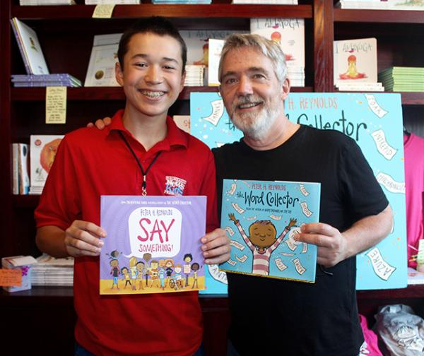 Max and children's author and illustrator Peter H. Reynolds at the Blue Bunny Bookstore in Dedham, MA