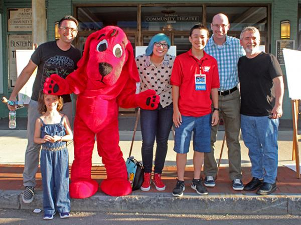 Max and children's authors and illustrators: (left to right) Jarrett Krosoczka and his daughter, Gale Galligan, Troy Cummings, and Peter H. Reynolds
