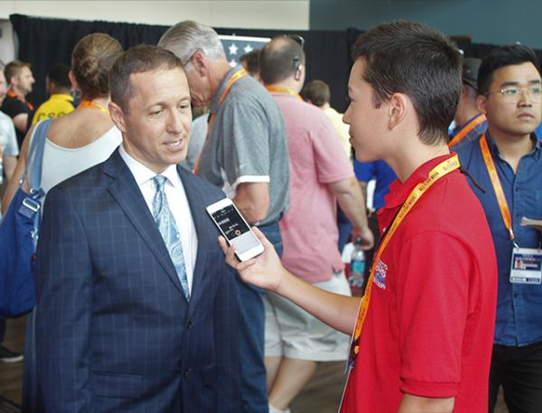 Max and Ken Rosenthal at media day before the All-Star Game