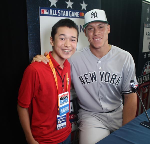 Max interviews New York Yankees homerun hitter Aaron Judge about #ICANHELP at media day before the MLB All-Star Game at Nationals Park in Washington D.C.