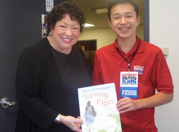 Max and Justice Sotomayor with her new book