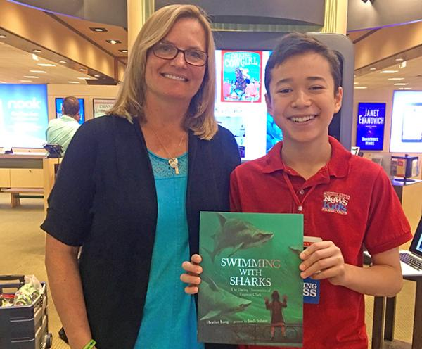 Max with children's book author Heather Lang at Barnes & Noble in Framingham, Massachusetts, photo courtesy of the author