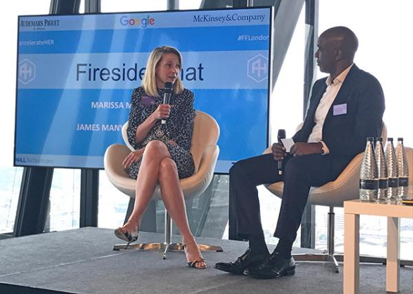 Marissa Mayer, Former CEO of Yahoo!, speaking at a fireside chat.