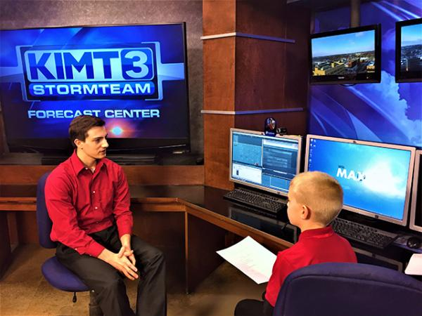 Kid Reporter Brandon posing with Meteorologist Brandon Libby of KIMT Channel 3 from Mason City, IA