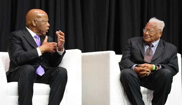 John Lewis and Jim Lawson during the program