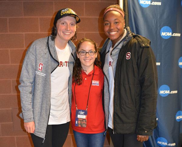 Sadie with Stanford's Katie Ledecky (left) and Simone Manuel (right), both Olympic gold medalists and NCAA champions.