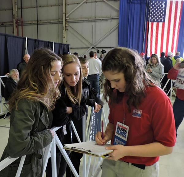 Kyra interviews students at a Trump rally in Columbus, Ohio, on March 1.