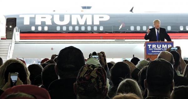 Donald Trump speaks at Port Columbus International Airport in Columbus, Ohio, on Super Tuesday.