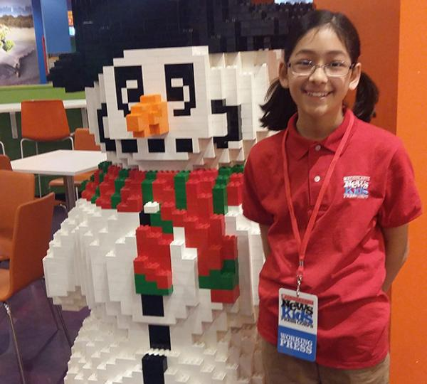 Helen and a Lego snowman