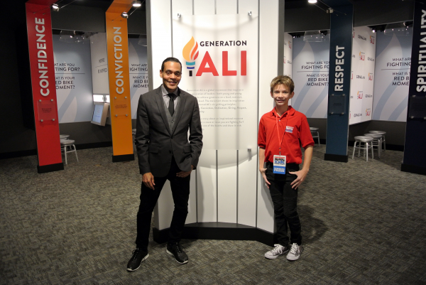 Leo with Donald Lassere, president and chief executive officer the Muhammad Ali Center in Louisville, Kentucky