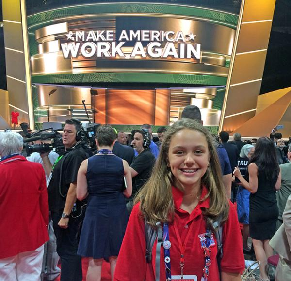 Lilian on the floor of the Quicken Loans Arena in Cleveland, Ohio, for the Republican National Convention. At the convention, Republican delegates officially nominated Donald Trump as their candidate for president.