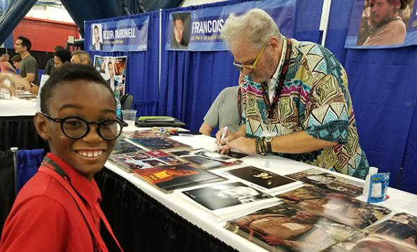 "Owen with actor M.C. Gainey, who plays Papa Poutine in ""Riverdale,"" a TV series based on the Archie comic book series"