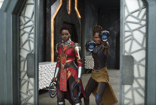 Nakia, played by Lupita Nyong'o (left), and Shuri (Letitia Wright)