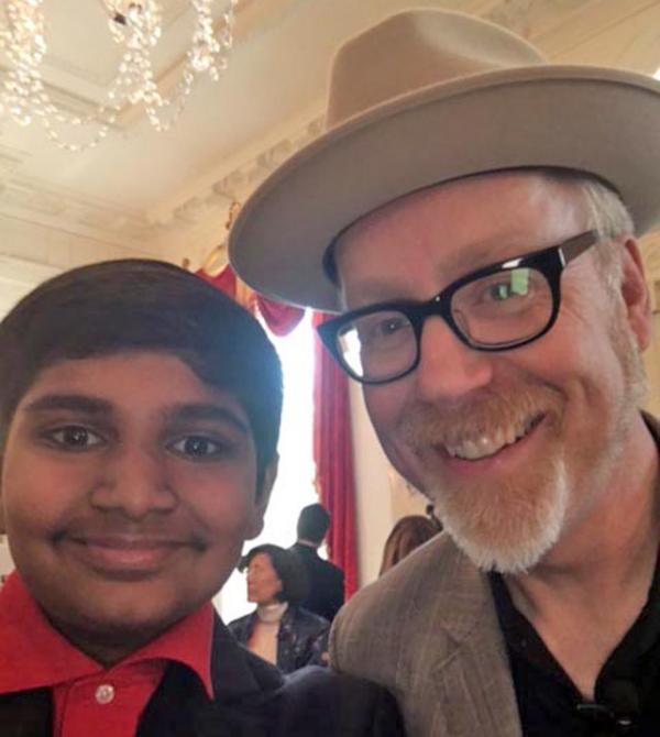 Manu with Adam Savage of Discovery Channel's Mythbusters